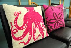 Hooked thread pillows from a thrift store via Young House Love blog. How cute are these?