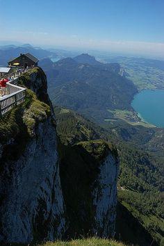 Mountain hut on top of Schafberg Mountain, Salzkammergut, Austria (by kashalina).
