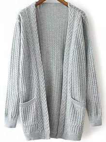 Open-Knit Pockets Grey Cardigan