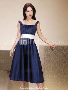 A-line Straps Tea-length Satin Bridesmaid/ Wedding Party Dress - USD $ 87.29