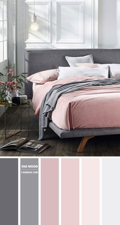 Bedroom Colour Palette, Bedroom Wall Colors, Bedroom Color Schemes, Room Ideas Bedroom, Blush Grey Bedroom, Bedroom Green, White Bedroom, Scandinavian Style Bedroom, Blush And Grey