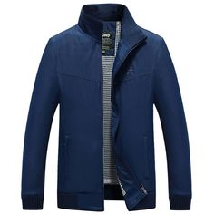 Nian Jeep Mens Stand Collar Jacket Solid Color Spring Autumn Casual Polyester Coat