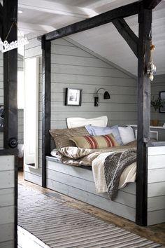 Wooden beam bed idea