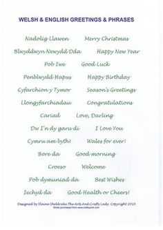 - A selection of greetings and phrases in both Welsh and English. Ideal for card making and scrapbooking. Welsh Sayings, Welsh Words, Welsh Phrases, Welsh Translation, Welsh Language, Language Study, Welsh Tattoo, Learn Welsh, Birthday Verses