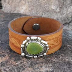 Leather Cuff Bracelet with Green Turquoise by RocaJewelryDesigns