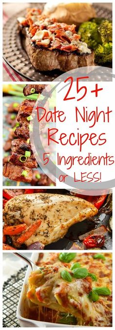 Looking for food to eat on a date night? Here's 25+ Delicious Date Night Recipes with 5 Ingredients or Less! ~ Perfect for the Date Night at Home! Quick, Easy and Delicious Date Night Dinners Anyone Can Make! Add this to you date night ideas board! Easy Romantic Dinner, Romantic Dinner Recipes, Romantic Meals, Fun Dinner Ideas, Romantic Surprise, Romantic Picnics, Romantic Evening, Dinner Date Recipes, Date Dinner