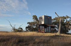 """Mudgee Permanent Camping is a compact house designed by Australian firm Casey Brown Architecture. Description by the architects: """"Located on a remote Architecture Design, Australian Architecture, Architecture Journal, Sustainable Architecture, Installation Architecture, Design Architect, Sustainable Design, Sustainable Living, Prefab Cabins"""