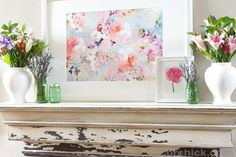 Spring Mantel With New Watercolor Picture - Decorchick!