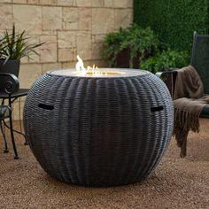 Wicker fire pit table.