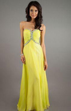 Long Strapless Chiffon Yellow Prom Dress - Vuhera.com