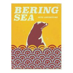 Bering Sea vintage style 1970s adventure poster Postcard - postcard post card postcards unique diy cyo customize personalize