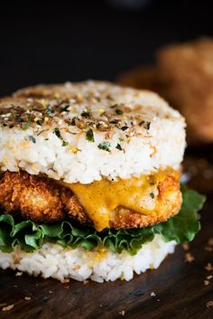 Chicken Katsu Rice Burger - Crispy on the outside, juicy & moist on the inside Chicken Katsu with Japanese curry smack in between two pan seared rice patties. #keto #recipesidea #healthyfood Sushi Burger, Asian Recipes, Healthy Recipes, Ethnic Recipes, Fusion Food, Burger Recipes, Rice Burgers Recipe, Food For Thought, Food Inspiration