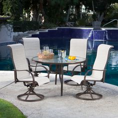 Coral Coast Del Rey Deluxe Padded Sling Rocker Dining Set - Seats 4 - Patio Dining Sets at Hayneedle