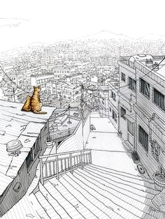 View from the top Landscape Sketch, Landscape Artwork, Landscape Drawings, Ink Pen Drawings, Drawing Sketches, Ink Illustrations, Illustration Art, Environment Painting, City Drawing