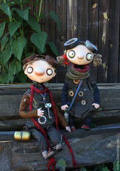 """Купить Авторские куклы """"Гаечка и Болтик"""" - хаки, промдетали, гогглы, бомж стиль, лупоглазые"""