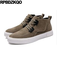 Flat High Top Sole 2017 Trainer Booties Boots Fall Sneakers Brown Platform Shoes  Men Suede Ankle