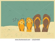 stock-vector-vintage-style-illustration-of-two-pairs-of-flip-flops-on-the-beach-131224505.jpg (450×337)
