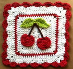 Love this! Free pattern for cute Cherry Dishcloth @ Maggie's Crochet