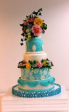 Torturi - Viorica's cakes: Tort nunta turquoise cu bujori