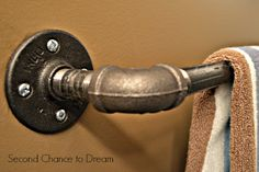 Possible garage laundry clothes hanging bar?  Industrial Farmhouse Style ! DIY:: Bathroom Fixtures