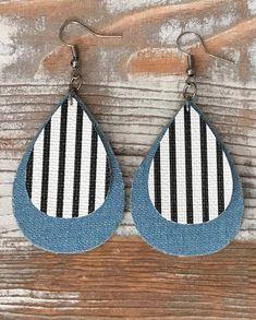 Faux leather black and white striped teardrop earrings. Denim tear drop earrings
