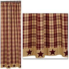 Burgundy Farmhouse Star Shower Curtain 72x72