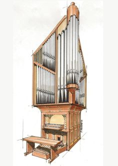 Drawing of Organ  Designed for Corner Location