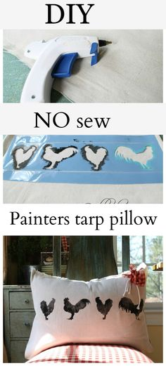 DIY No Sew Pillow Out of Painters Tarps