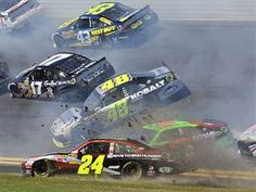 NASCAR... Wonderful pic of both Gordon and Johnson and Danica wrecking! Daytona is here! 2013 season is officially started!