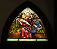 Angel depicted with the banner Holy, Holy, Holy, referring to Jesus | Stained Glass Church Window | Flickr - Photo Sharing!