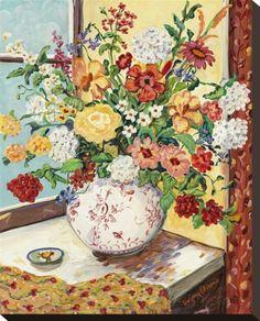 オールポスターズの スザンヌ・エティエンヌ「Flowers in Red and White Vase」キャンバスプリント
