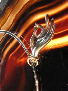 Sterling Silver Bracelet with Hand in Vitarka Mudra