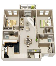Condo floor plans, apartment layout, apartment plans, two bedroom, garage a 2 Bedroom Apartment Floor Plan, 2 Bedroom House Plans, Apartment Layout, Apartment Plans, Two Bedroom Apartments, Apartment Design, Studio Apartments, Condo Floor Plans, 3d House Plans