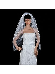 White 2 Tiers Fingertip Length Wedding Veil with Sequined Hem - USD $15.99