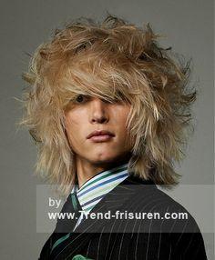 Buchsen LONDON Lange Blonde Männlich gerade Herren gewellte Frisuren hairstyles