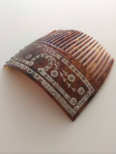 Faux Tortoisshell Celluloid antique hair comb with silver inlay by BeCombChic, $65.00