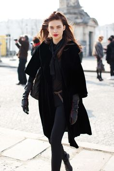 all you need is leather gloves and scarlet lips