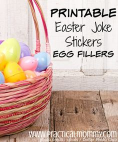 Printable Easter Joke Stickers Egg Fillers
