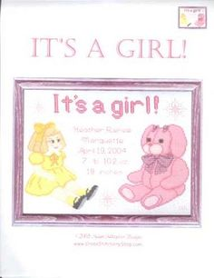 It's a Girl! Cross Stitch Find your next cross stitch design at Cobweb Corner and save 20% on your first order with coupon WELCOMECC #crossstitch #babies #baby #kids #cobwebcorner
