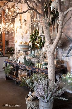 Seafoam and champagne holiday display {Los Angeles store} | Rolling Greens