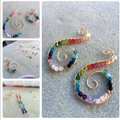 Rainbow Swarovski wire wrapped earrings by Green Gecko Design #design #unique #create #make #GGJewellery