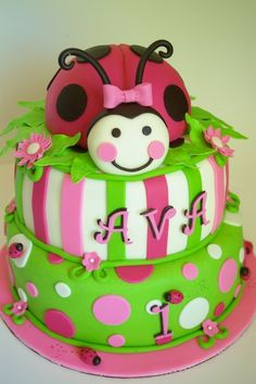 LadyBug Cake-AVA THIS IS JUST FOR YOU BABY GIRL !!!! LOVE YOU !!!! HAPPY 1ST BIRTHDAY !!!!