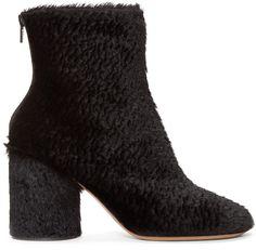 Maison Margiela - Black Embossed Calf-Hair Boots