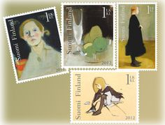 Helene Schjerfbeck - a booklet of four stamps  Issued: 23.01.2012