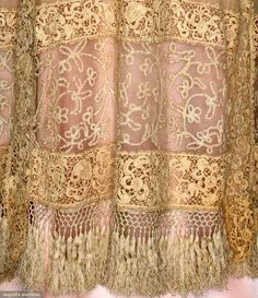 Silk and Lace Gown - detail - c. 1912 - Chiffon with Milanese tape lace bodice band, Coat of cream Gauze with hand made Irish Crochet Edwardian Fashion, Vintage Fashion, Edwardian Era, Antique Lace, Vintage Lace, 20th Century Fashion, Pearl And Lace, Clothing And Textile, Lace Bodice