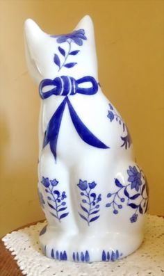 "Vintage Blue and White Large Ceramic Cat Figurine by Formalities by Baum-11"" tall"