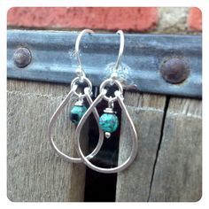 Sterling Silver and Turquoise Teardrop Hoops by jenjems on Etsy, $30.00