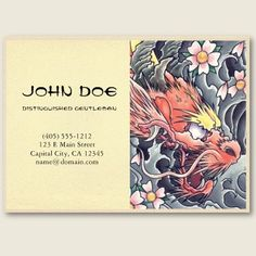 Cool oriental japanese red dragon god tattoo business card templates people also love these ideas cool oriental japanese dragon samurai fight tattoo business cards wajeb Gallery