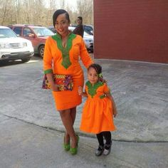African style and fashion. Mother & daughter