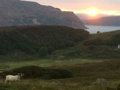 Sunset over portree skye from raasay